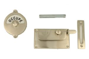 Libre-Occupé door lock for toilet satin nickel 92×52mm