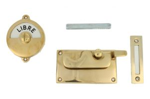 Libre-Occupé door lock for toilet polished brass 92×52mm