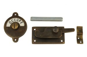 Libre-Occupé door lock for toilet 70×39mm antique brass