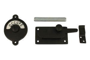 Libre-Occupé door lock for toilet black powder coated
