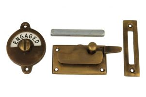 Vacant-Engaged door lock for toilet antique brass 70x39mm