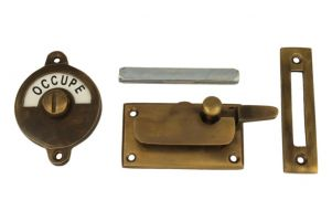 Libre-Occupé door lock for toilet antique brass 70x39mm
