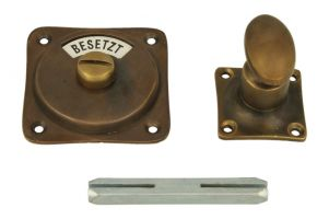Frei-Besetzt turn and release spindle antique brass
